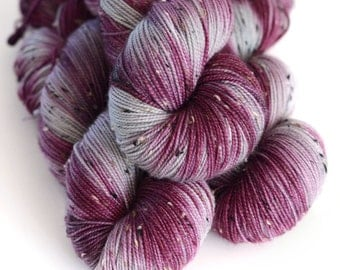 Shae - Tweed Yarn - Hand Dyed Sock Yarn- Wine Purple and Light Gray - Game of Thrones