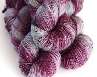 Shae - Tweed Yarn - Hand Dyed Sock Yarn- Wine Purple and Light Gray - Game of Thrones