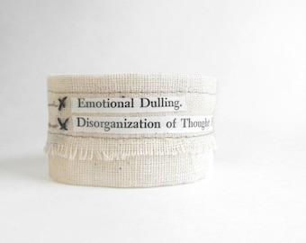 Mixed Media Bracelet //  Hand-stitched Fabric Cuff Bracelet // Psychology Series Text Bracelet // Experimental Handmade Jewelry by Luluanne
