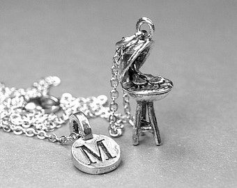Barbecue Grill Necklace, BBQ grill charm, 3D antiqued silver pewter, initial necklace, initial hand stamped, personalized, monogram