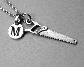 Saw Necklacem hand saw charm, silver pewter, initial necklace, initial hand stamped, personalized, monogram