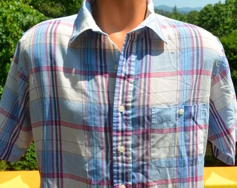 vintage 80s shirt PLAID short sleeve pastel rainbow button down campus hipster Large towncraft