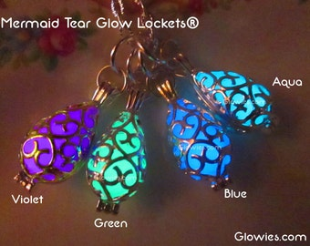 Mermaid Tear Glow Locket® Magic Necklace Glows in the Dark Glowies Jewelry Fairy Galaxy Glowing Filigree Pendant Magical Handmade Light