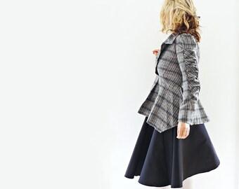 Grey Checked/Plaid Tweed Wool Jacket