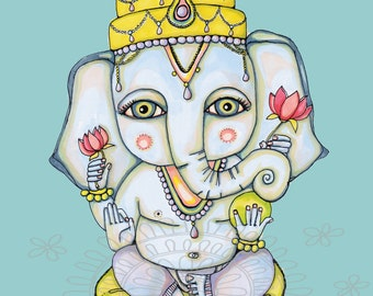 Peaceful GANESHA Print of Original Illustration