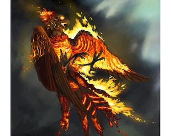 Molten Firebird - Fantasy Phoenix Fire Bird Print