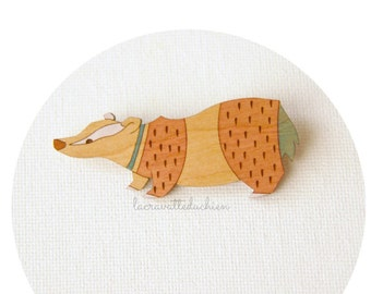 Wooden badger brooch, woodland animal jewelry, wood pin