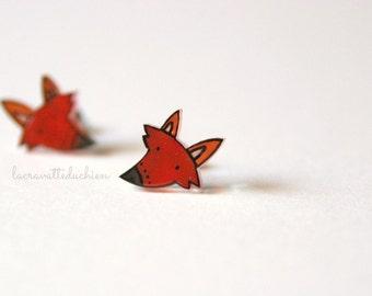 Red fox studs, woodland jewelry, fox heads earrings