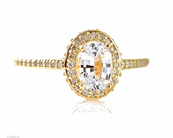 14K White Sapphire Engagement Ring Oval Diamond Halo Setting 14K 18K White Yellow Rose Gold Platinum Palladium