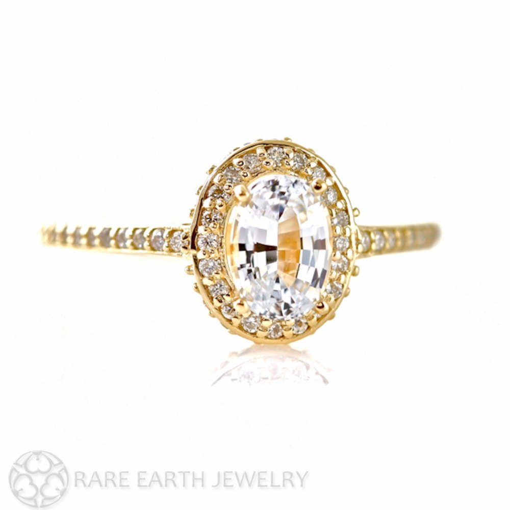 14K White Sapphire Engagement Ring Oval Diamond Halo Setting