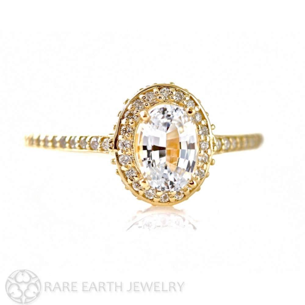 14K White Sapphire Engagement Ring Oval Diamond Halo Setting