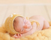 Knit Newborn bonnet with fabric bow