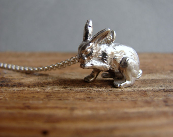 Silver Bunny Necklace, Bunny Jewelry, Easter Gift, Animal Jewelry Animal Necklace, Rabbit Necklace, Rabbit Jewelry, Bunny Pendant,