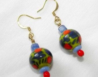 Handmade Beaded Earrings, Artisan Jewelry, Glass Beads, Blue, Orange, Yellow, Bright