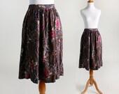 Vintage Paisley Skirt - 1980s Floral Dark Garden Grunge Skirt - Large