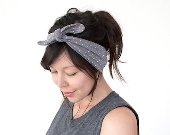 Tie Up Headscarf // Hair Wrap // Turban Headband // Yoga Hairband // Grey with White Polka Dot