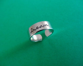 Dream Ring - Personalized Hand Stamped Ring - Skinny 1/4 Band