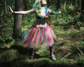 Adult tutu Skirt Rainbow Streamer knee length pride halloween costume piece dance fairy run  - You Choose Size -- Sisters of the Moon