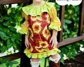 Sewing Pattern Ruffled Neckline Peasant Dresses 6m - 12 girls 2 sleeve lengths Instant PDF