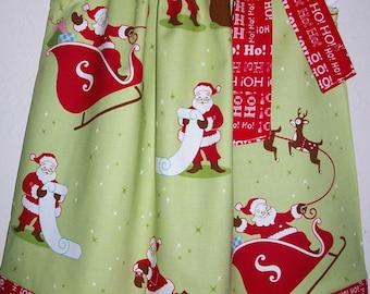 Christmas Dress Pillowcase Dress with Santa Dress with Reindeer Sleigh Ride Robert Kaufman Holiday Dress baby dress toddler dress