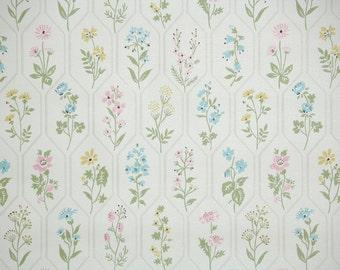 1940's Vintage Wallpaper Pink Blue and Yellow Spring Flowers
