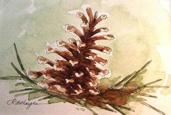 Pine Cone Watercolor Print