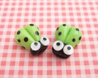 2 Glass Ladybug Beads - Lampwork Ladybug Beads - 14mm Beads - Green Ladybug - Green Ladybird - SRA Handmade Lampwork - J