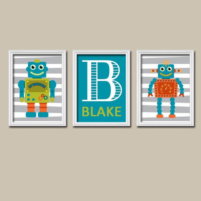 Robot wall art boy robot bedroom pictures custom canvas or for Robot bedroom
