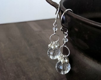 Crystal quartz and pearl earrings - sterling silver earrings - Bridal earrings