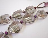 Long Geometric Necklace, Smokey Quartz, Free Shipping, Laura Mae Jewelry