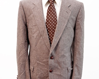 Men's Suit / Vintage Brown Blazer and Trousers / Western Details / Size 44-38