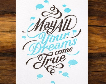 May All Your Dreams Come True - Letterpress Greeting Card