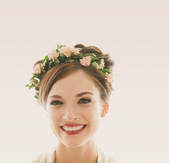 Floral hair wreath, Woodland flower crown, Bridal head wreath, Natural woodland headpiece, Boho wedding, Pink leaf crown - MARLENA