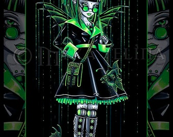 Digit Green Android Cybergoth Fish Fairy 4X6 PRINT