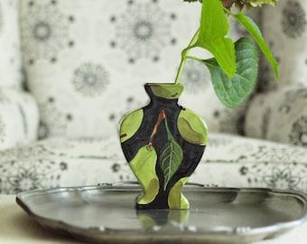 Vase Modern Vase Floral Vase Ceramic Vase Pottery Vase Pear Flat Urn Vase Handpainted Black & Green Colorful Gift for Friend Hostess Gift P