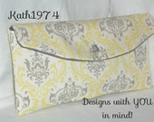 Yellow and Taupe-Grey Clutch - Bridesmaid Clutch -SALE- Envelope Clutch - Premier Prints - Madison in Sunny -Bridesmaid Gift - Birthday Gift