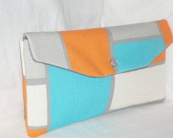 Bridesmaid Clutch/SALE /Fold Over Envelope Clutch/Premier Prints-Hopscotch Mandarin(Orange,Grey &Turquoise)/Bridesmaid Gift