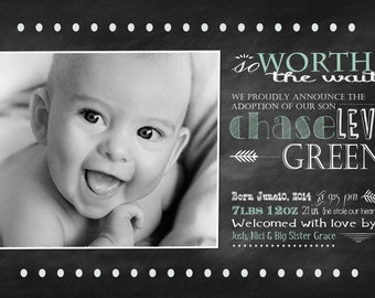 Adoption Announcement - Chalkboard PHOTO Birth ANNOUNCEMENT - Boy or Girl -  Printable, Digital, Custom - baby boy announcement