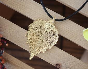 Gold Leaf Necklace, Birch Gold Real Leaf, Birch Leaf Pendant, Gold Birch Leaf Necklace, Real Leaf Necklace, 24kt Gold, LL7