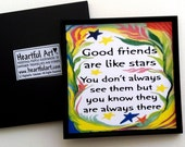GOOD FRIENDS Are Like Stars Inspirational Quote Friendship Gift Positive Sayings Typography Kitchen Decor Heartful Art by Raphaella Vaisseau