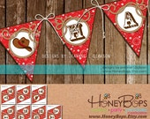 HAPPY BIRTHDAY - Instant Download Western Theme Pennant Banner Printable PDF file.