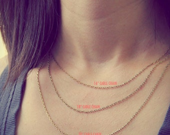Charm Necklace Chain- gold brass cable chain. Brass Chain. 16 inch necklace. 18 inch necklace. 20 inch necklace. Necklace by jenny present