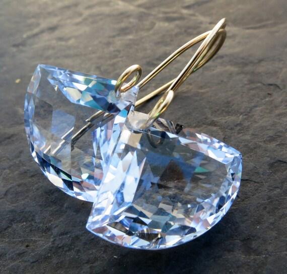 Sky blue topaz earrings in 14k gold fill, gemstone jewelry modern graphic geometric fan large dangle drop periwinkle mermaid bride --Cielo--