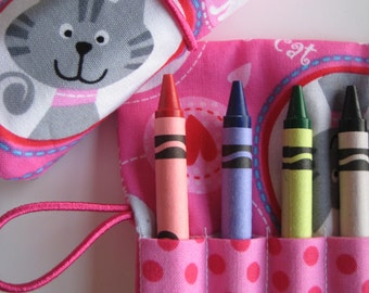 Crayon Roll Wallet Pink Kitty Cat 8 Crayons Included