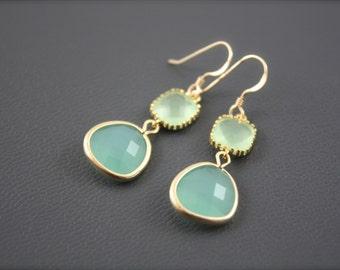 Chalcedony Earrings, Gold Filled Earrings, Prehnite Earrings, Double Stone Earrings, Bicolor Earrings,Aqua Earrings, Delicate Earrings