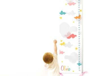 Growth Chart, Cloud Nursery, Nursery Decor, Canvas Growth Chart, Baby Shower Gift
