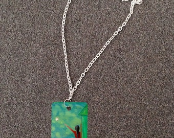 Retablo Folk Art Necklace - Proceeds Benefit Animal Rescue, Moon & Stars, Reach For The Stars, Green Blue Lake at Night, Metal Dog Tag