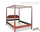 Farmhouse Canopy Pencil Post Bed | Full | Farmhouse Americana Country | Red over Black  Primitive Painted Finish