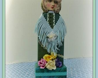 LuLu Handmade Mixed Media Victorian Collage Art Doll