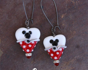 Red N White Magical Heart Lampwork DeSIGNeR EaRriNgs So Pretty Perfect for that Disney Inspired Adventure